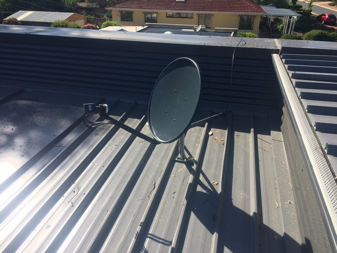 Digital TV Antenna Installation (dish) on Metal Roof by Canberra Antennas.
